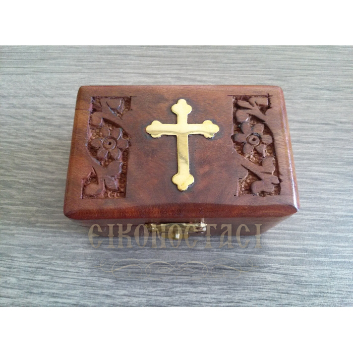 WOODEN STORAGE BOX WITH DECORATIVE CROSS (298)
