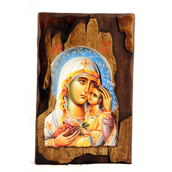WOODEN ICON WITH VIRGIN MARY AND JESUS CHRIST AK2