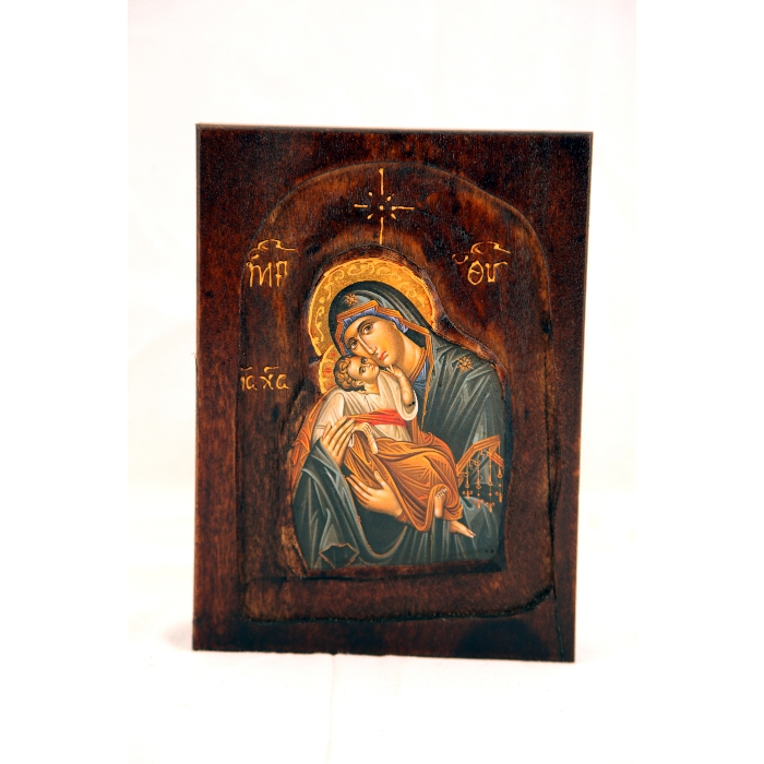 WOODEN ICON WITH VIRGIN MARY  D1