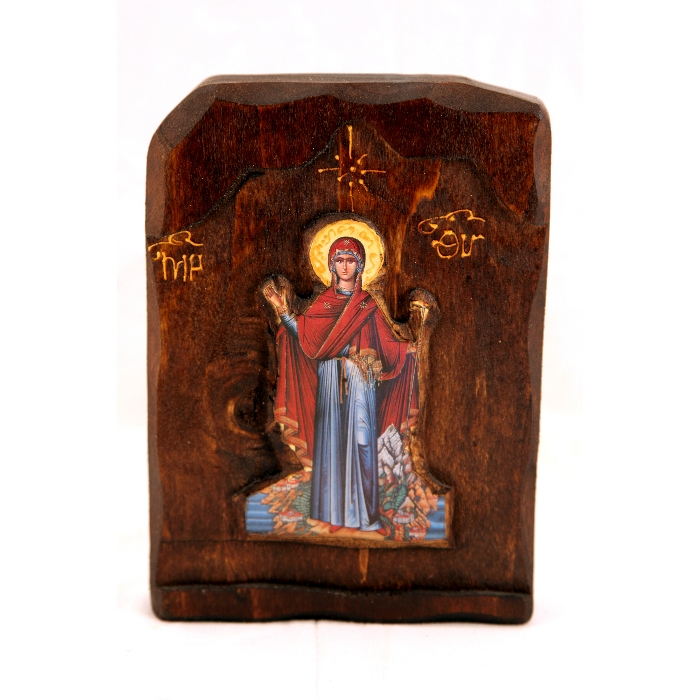 WOODEN ICON WITH VIRGIN MARY C1