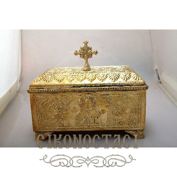 BRASS STORAGE BOX WITH CROSS (4088Β)