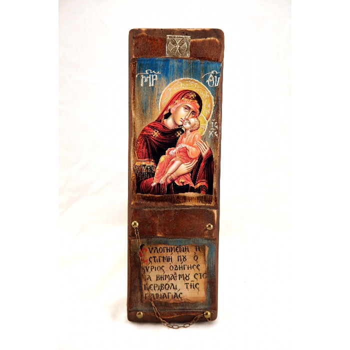 WOODEN ICON WITH VIRGIN MARY AND JESUS CHRIST L10