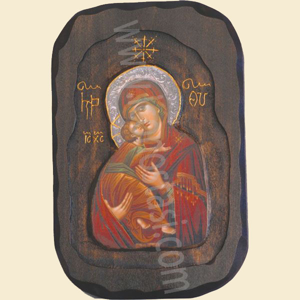 WOODEN ICON WITH VIRGIN MARY AND JESUS CHRIST O3