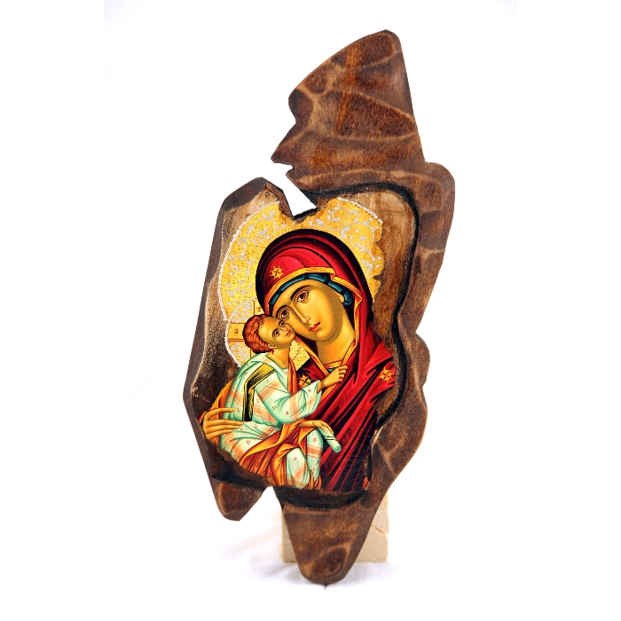 WOODEN ICON WITH VIRGIN MARY SF