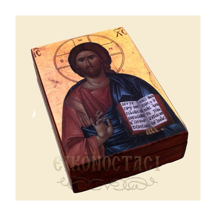 WOODEN ORTHODOX STORAGE BOX WITH A DISPLAY OF JESUS CHRIST 6A