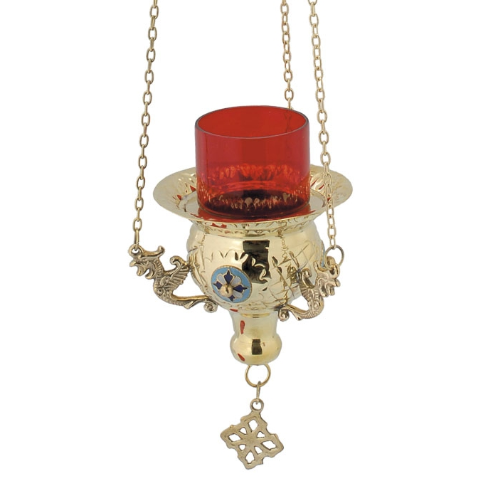 BRONZE CHURCH OIL LAMP WITH CHAIN (9544Β)