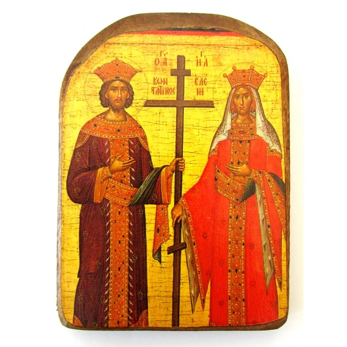 WOODEN ICON  OF SAINTS CONSTANTINE AND HELEN MP2